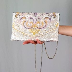 Vintage beaded bag with chain strap